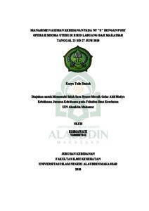 Manajemen Asuhan Kebidanan Pada Ny S Dengan Post Operasi Mioma Uteri Di Rsud Labuang Baji Makassar Tanggal 23 S D 26 Juni 2010 Repositori Uin Alauddin Makassar